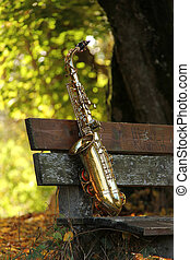 grungy, vecchio, sassofono