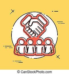 gruppo, accordo, icona
