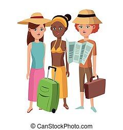 gruppo, amici ragazza, turista, viaggiatore