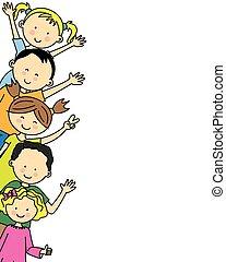 gruppo, bambini, felice