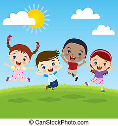 gruppo, bambini, felicità