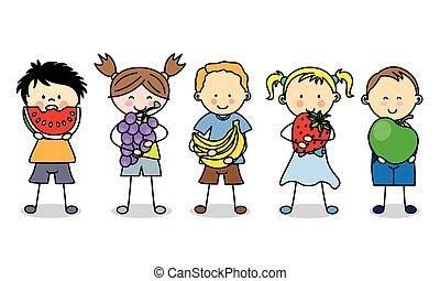 gruppo, bambini, frutte
