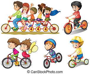 gruppo, biking, persone