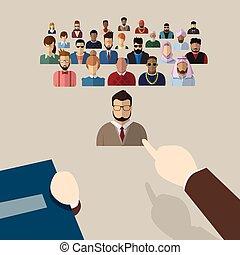 gruppo, candidato, persone affari, punto, mano, reclutamento, persona, dito, scegliere