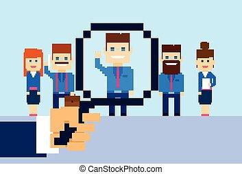 gruppo, candidato, persone affari, reclutamento, zoom, mano, vetro, persona, scegliere, ingrandendo