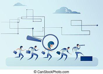 gruppo, candidato, persone affari, reclutamento, zoom, vetro, persona, scegliere, ingrandendo