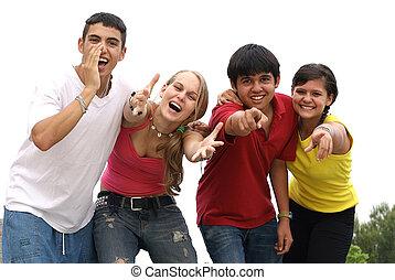gruppo, chiamata, gridare, diverso, adolescenti, sorridente, o, felice