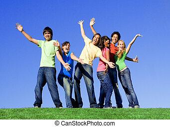 gruppo, corsa, mescolato, adolescenti