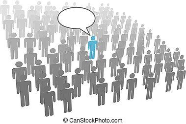 gruppo, folla, ditta, persona, individuale, discorso, sociale