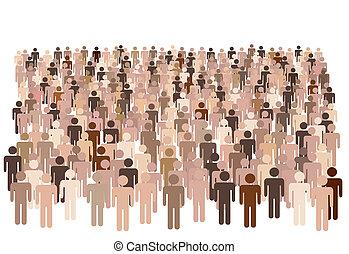 gruppo, forma, persone, simbolo, grande, diverso, popolazione