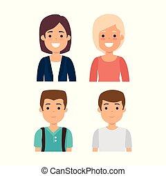 gruppo, giovani persone