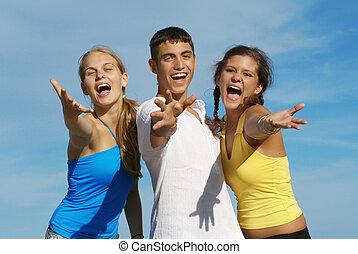 gruppo, gioventù, adolescenti, canto, o, felice