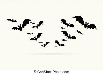 gruppo, halloween, isolato, elemento, decorazione, pipistrelli, fondo, felice