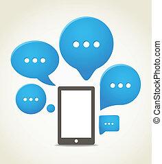 gruppo, mobile, moderno, telefono, discorso, nubi