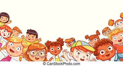 gruppo, multicultural, ondeggiare, macchina fotografica, bambini, felice