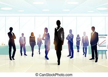 gruppo, persone affari, squadra, silhouette, funzionari