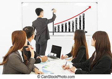 gruppo, persone affari, whiteboard, vendite, discutere