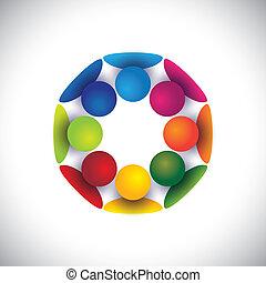 gruppo, persone, bambini, comunità, o, vettore, cerchio, gioco