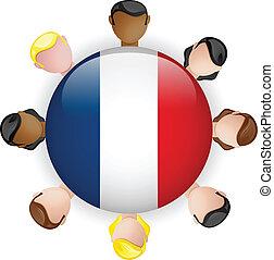 gruppo, persone, bottone, bandiera francia, lavoro squadra