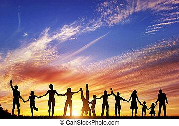 gruppo, persone, famiglia, insieme, mano, diverso, amici, squadra, felice