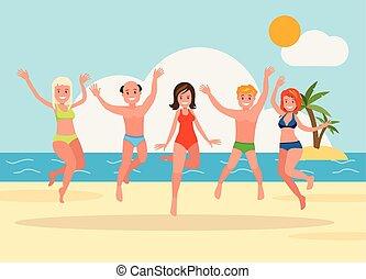 gruppo, persone, giovane, fondo., saltare, spiaggia, felice