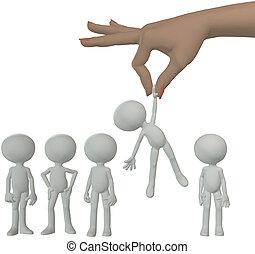 gruppo, persone, mano, persona, selects, cartone animato