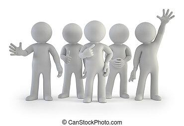 gruppo, persone, -, piccolo, meglio, 3d