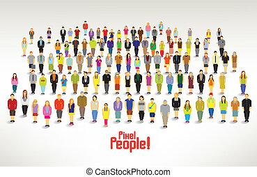 gruppo, persone, raccogliere, grande, vettore, disegno