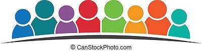 gruppo, persone, vettore, otto, friends., persons., icona