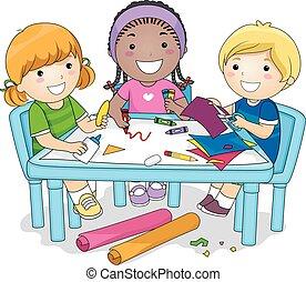 gruppo, progetto, arte, bambini