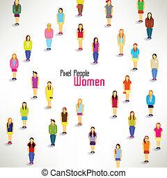 gruppo, raccogliere, grande, vettore, disegno, donne