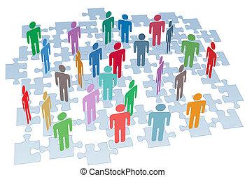 gruppo, rete, confondere pezzi, collegamento, risorse umane