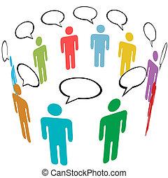 gruppo, rete, persone, media, simbolo, colori, sociale, discorso