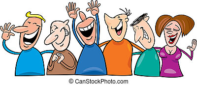gruppo, ridere, persone