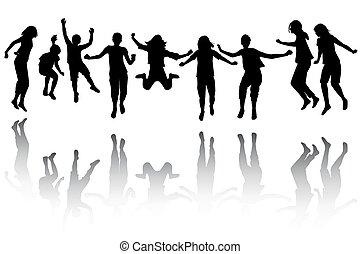 gruppo, saltare, silhouette, bambini