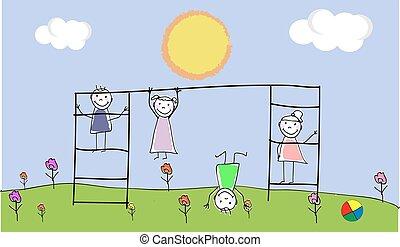 gruppo, scarabocchiare, schizzo, bambini, insieme, mano, vettore, illustrazione, children., disegnato, outdoors., scribble., gioco, kids., campo di gioco
