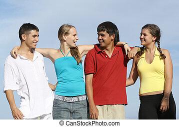 gruppo, studenti, adolescenti, diverso, gioventù, adolescenti, mescolato, o