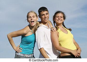 gruppo, studenti, corsa, adolescenti, mescolato, bambini, o