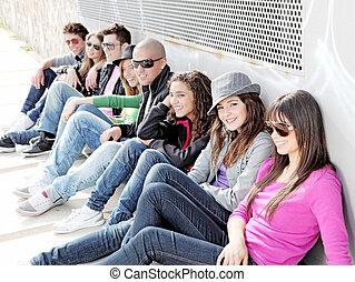 gruppo, studenti, o, diverso, adolescenti, università