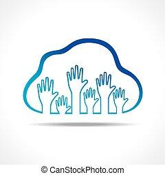 gruppo, su, nuvola, mani