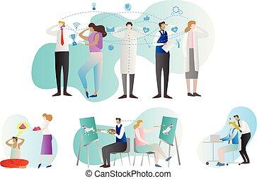 gruppo, thoughts., genio, persone, collection., telepatia, mente, paranormal, illustrazione, prediction., persona, vettore, cervello, esempi, comunicazione, activity., lettura, o