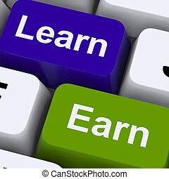 guadagnare, lavorativo, chiavi, studiare, esposizione, computer, imparare, o