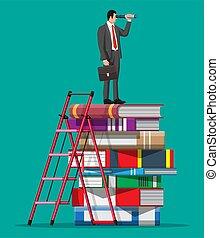guardando attraverso, libri, uomo affari, spyglass