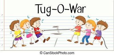 guerra, gioco, bambini, tirare