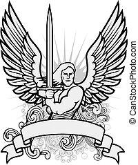 guerriero, vettore, angelo, illustrazione