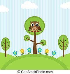 gufo, albero