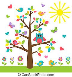 gufo, albero, uccelli, colorito, carino