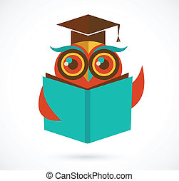 gufo, scuola, indietro, berretto laurea, libro, illustrazione