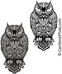 gufo, uccello, tatuaggio