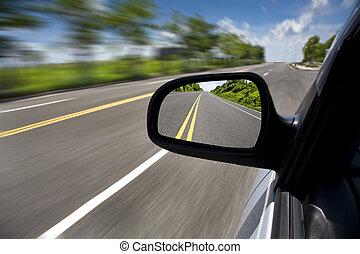 guida, automobile, fuoco, attraverso, strada, specchio, vuoto
